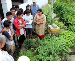 Participants learning about the herb spiral during farm visit.